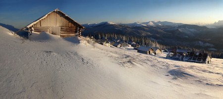 Snow-covered Carpathian Mountains of Ukraine