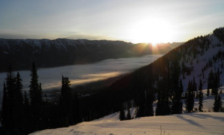 The snow sloped of Fernie, British Columbia, at sunrise
