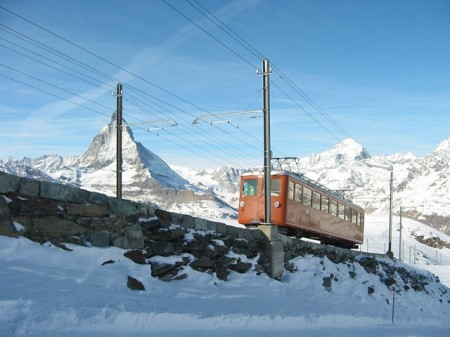 A trains in the Alps, Zermatt, Switzerland