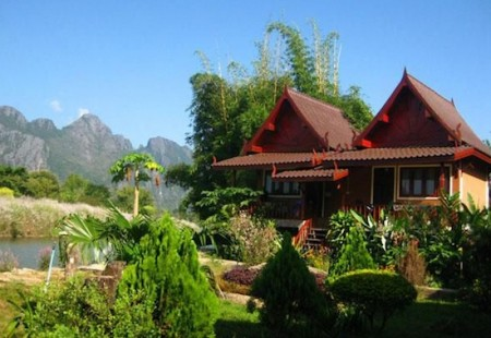 River View Bungalows in Vang Vieng, Laos. Photo courtesy of River View Bungalows