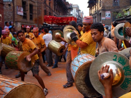 Newari 'dhime' music during Bisket Jatra of Nepal