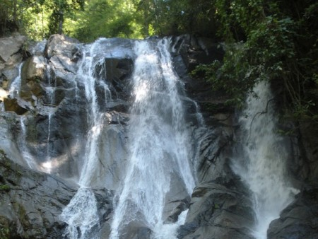 northern thailand ecotourism waterfall on trek 450x338 Trekking to Northern Thailand's Mountain top Villages