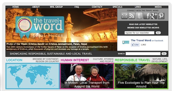 The new homepage of The Travel Word