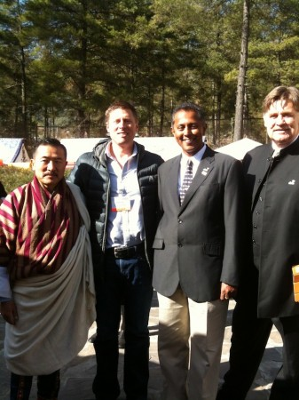 From left: Kesang Wangdi, Shannon Stowell, Hiran Cooray, Chairman of the Board of PATA, and Martin Craigs, CEO of PATA. Photo courtesy of the Adventure Travel Trade Association