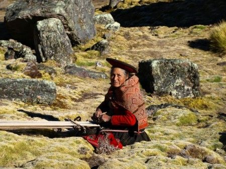 Traditional weaving in the Andes of Peru