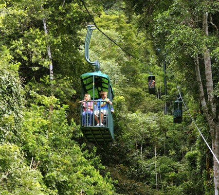Gondolas of the aerial tram at the Rainforest Adventures Pacific park in Costa Rica