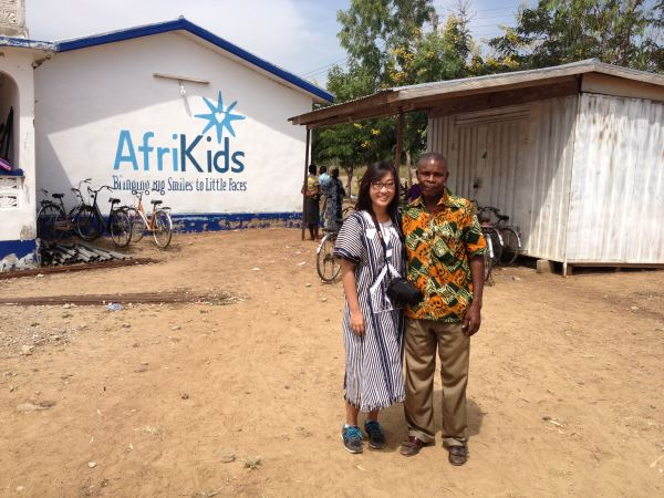 Jiah Ham with William, her host at AfriKids Blue Sky Travel in Ghana