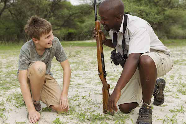 Family guide at the Footsteps Camp in Botswana during a family safari in Africa