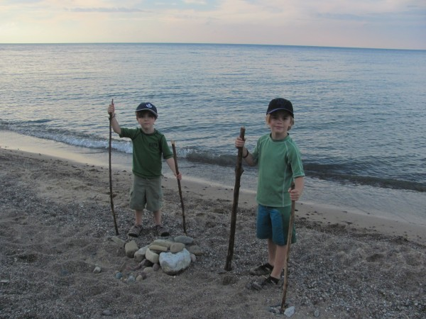 Rohan and Kai on the shores of Lake Michigan