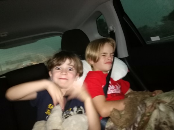 Family travel: Rohan and Kai in the car