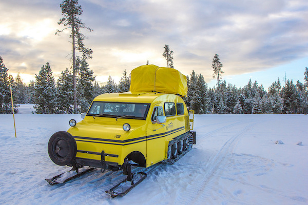 Yellow snow cat in Yellowstone National Park