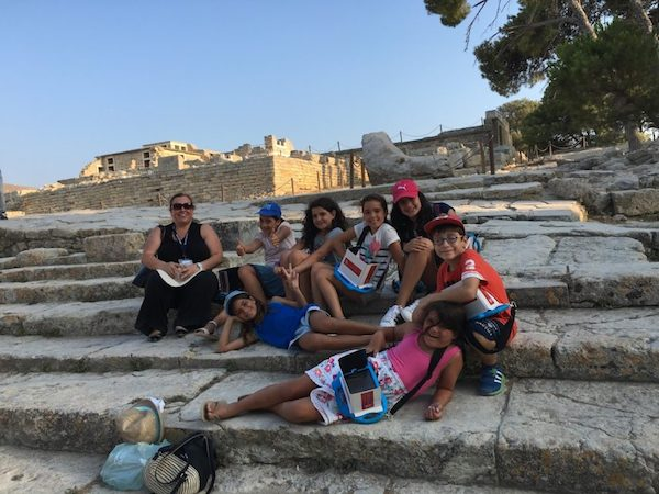 Kids on a road trip in Knossos, Greece