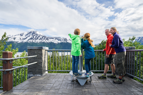 Road-tripping family at Bird Point, Alaska