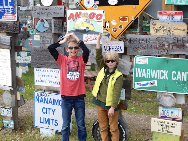 Kids with lots of road signs