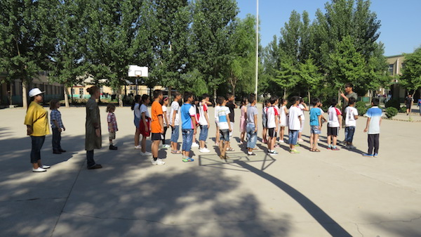 Visitors are welcome to participate in morning exercises at the school