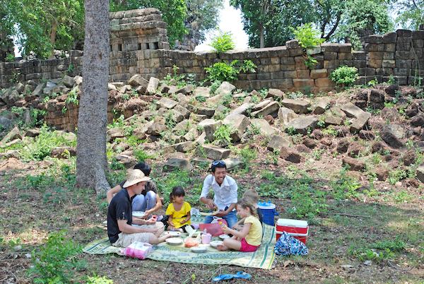 A picnic with a homestay host in Cambodia