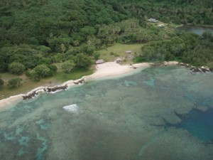 An aerial view of the Epi Guesthouse, set in its lush environment