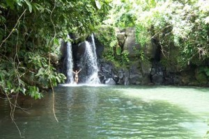 A perfect waterfall and pool combination near the Epi Island Guesthouse, Vanuatu