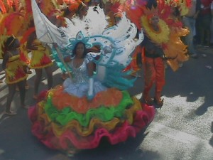 Colourful costumes during the São Vicente Carnival
