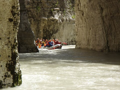 Rafting down the Osumi kanyo, one hour south of Berat in south-central Albania