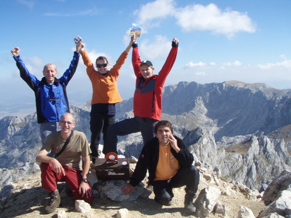 Montenegro Adventures and Green Visions guides atop Bobotov Kuk