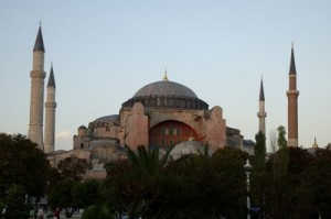 The towering Byzantine dome of the Hagia Sophia, nearly 1500 years old and once the greatest basilica in the world