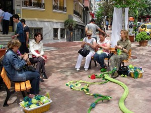 Fashion knows no limits: women sit together and knit on a street in Istanbul's Nişantaşı quarter