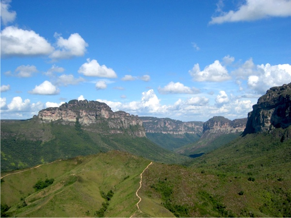 Brazil's Chapada Diamantina landscape is known for the mesa-like features called 'tepuis'. In the Pati Valley (pictured here), hikers are rewarding to stunning vistas over the national park after a bit of serious legwork.