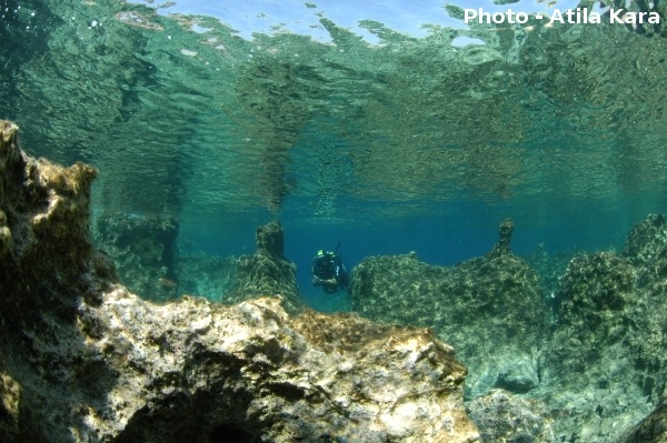 Around Kaş, Turkey, the crystal-clear turquoise Mediterranean Sea, purified by local currents, offers excellent diving conditions