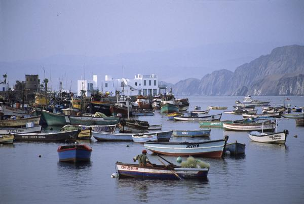 The Pucusana Bay of the Lima district with the same name is a popular summer vacation destination in Peru, notable for its multitude of restaurants and bars