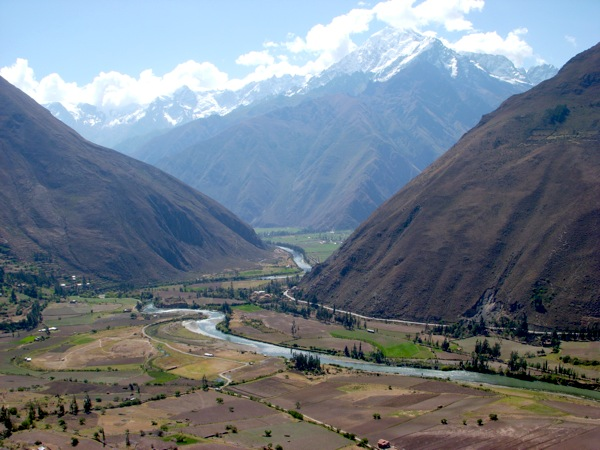 Take a short hike from Ollantaytambo to the far of the Urubamba River and a  breathtaking vista: the snow-capped peaks of the Andes, the Incan ruins and the town of Ollantaytambo all in one lovely frame. Photo by Maureen Valentine