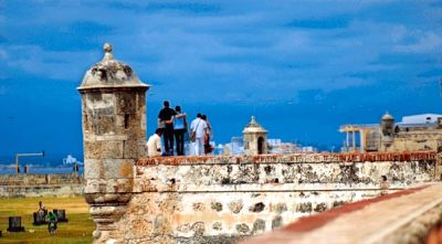 The San Felipe Castle, situated between the historic centre and the Caribbean Sea, is the symbol of the colonial past and, nowadays, one of the most attractive tourist points of Cartagena de Indias, Colombia