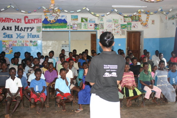 Chimwemwe giving an inspirational talk at an orphan care centre in Mulanje, Malawi