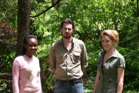 Kate (right) and Dom (centre) own and run The Responsible Safari Company in Malawi, together with their colleague, Chimwemwe (left)