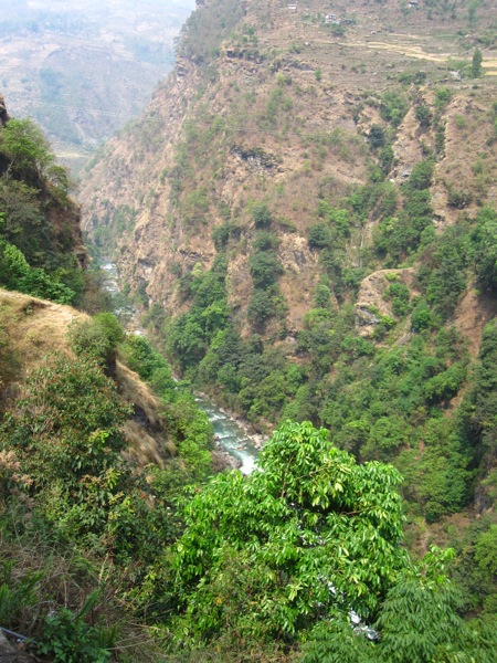 A view of the Bhote Khosi River Gorge of Nepal. The bungee-jumping bridge is the third highest in the world and also has the largest canyon swing in the world.