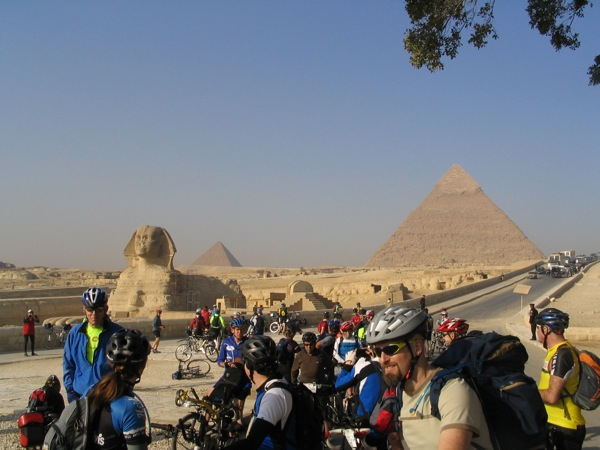 With the Sphinx bearing witness, the Tour d'Afrique riders assemble near Cairo, Egypt, in preparation for the first kilometre on day 1 of their four-month, 11,800-kilometre trans-African pedal (photo by Brian Hoeniger)
