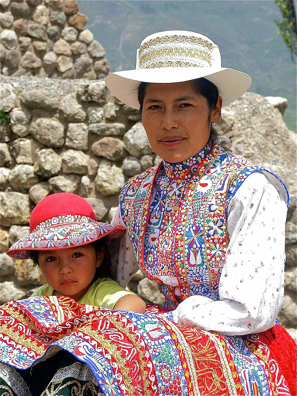 A woman, dressed in the typical attire of the Collawua group, native to the Colca Canyon. There are two different ethnic groups in the highlands. The Collawua and Cabana can be differentiated by the type of hats tworn.