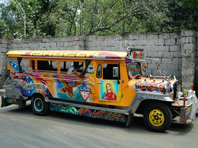 These colourful jeepneys are a common mode of transportation for Filipinos in Manila. Every jeepney has its own distinct design.