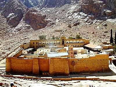 A view of St. Catherine's, the world's oldest continuously inhabited monastery, located at the foot of Mount Sinai, Egypt