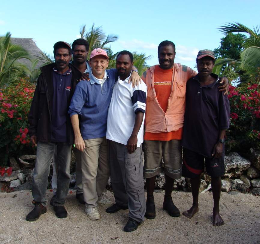 John Nicholls (third from left) of of Vanuatu Hotels, the whl.travel local connection in Vanuatu, with local friends and former colleagues from the days when he operated a resort on Tanna