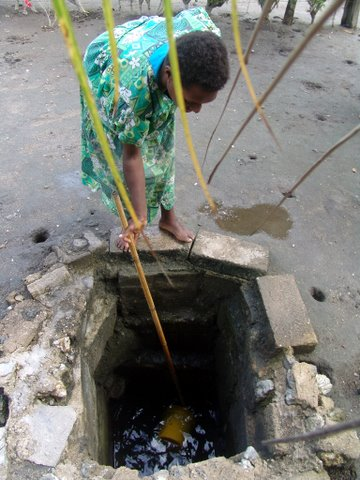 Woman collecting water from her well. Uliveo island village - Maskelyne Isld group - Vanuatu