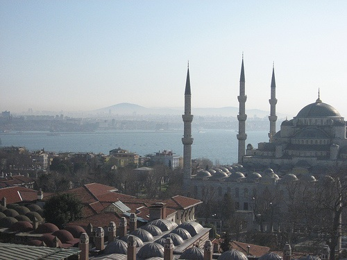 A view over the domes of the Blue Mosque out to the Bosphorus as it bisects Istanbul. Photo courtesy of Flickr/Sev!