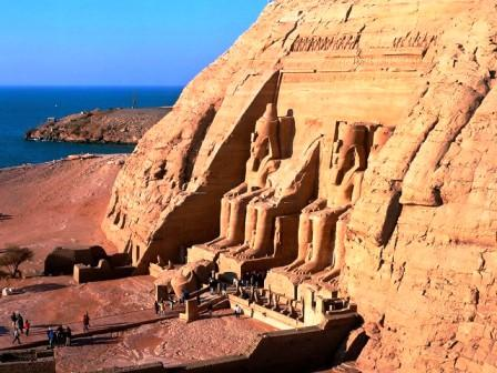 The incredible Ramesses II Temple at Abu Simbel, near Aswan, with Lake Nasser in the background