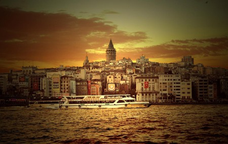 A view of Galata from Istanbul's busy Eminou por