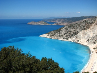 Myrtos Beach on the Greek island of Kefalonia is famed for its crystal-clear turquoise water and has been voted Greece's best beach 12 times. It was one of the locations used during the filming of the 2001 movie 'Captain Corelli's Mandolin' – aficionados may remember the bomb scene was filmed here!