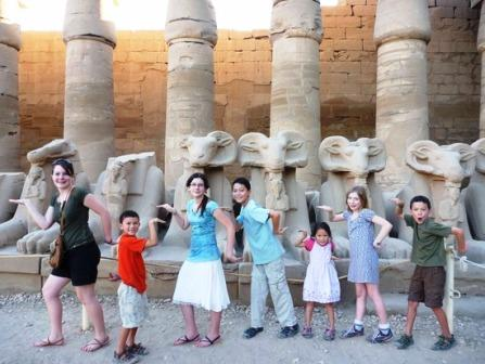 Walking like an Egyptian down the Avenue of the Sphinxes, or Sacred Way, at the Karnak Temple of Luxor, Egypt