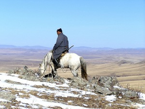 Approximately 100 km from Ulaanbaatar City, this ranger is on patrol in Mongolia's Khustai National Park, now home to the reintroduced Przewalski wild horse or Takhi.