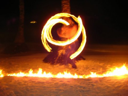 Fire dancing is a big hit on Boracay's beaches