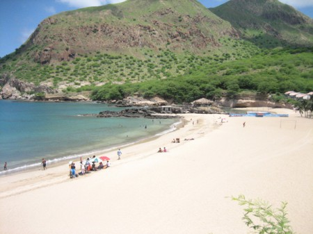 Tarrafal Beach is the largest and most impressive stretch of sand on the island of Santiago, Cape Verde