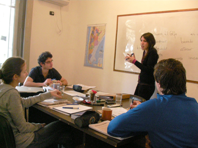 Students enjoy an interactive Spanish language class in Buenos Aires, Argentina